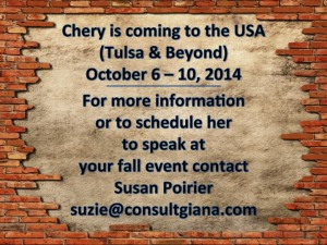 Chery Gegelman is coming to  the U.S.A.