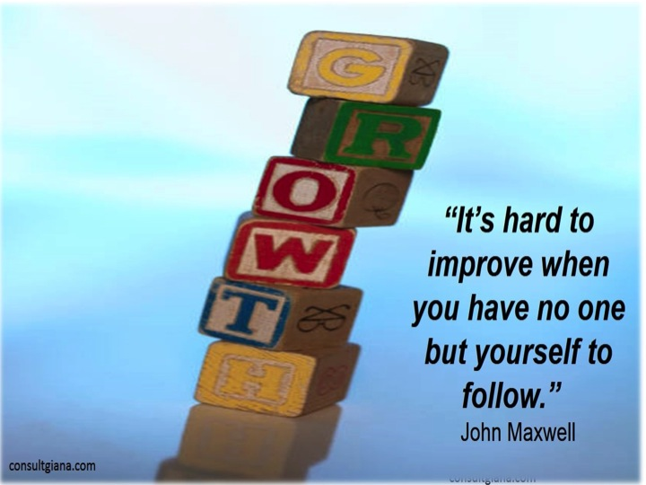 """It's hard to improve when you have no one but yourself to follow."" John Maxwell"